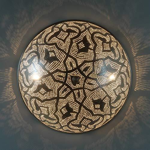 Casa Moro Orientalische Wandlampe Benti D45 Silber | Echt versilberte Messing-Lampe | Kunsthandwerk aus Ägypten | Silberlampe wie aus 1001 Nacht | AWL110
