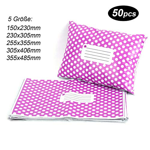 50st Versandtaschen Versandbeutel Versandtueten Blickdicht, Purple Polka Dots, 305x406MM