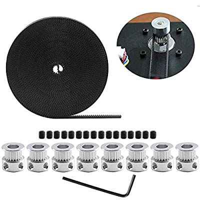 5M GT2 Timing Belt, Vibury GT2 20 Teeth Timing Belt Pulley 8mm Bore with Wrench and Screws for Anet A8 RepRap Prusa i3 3D Printer CNC Parts