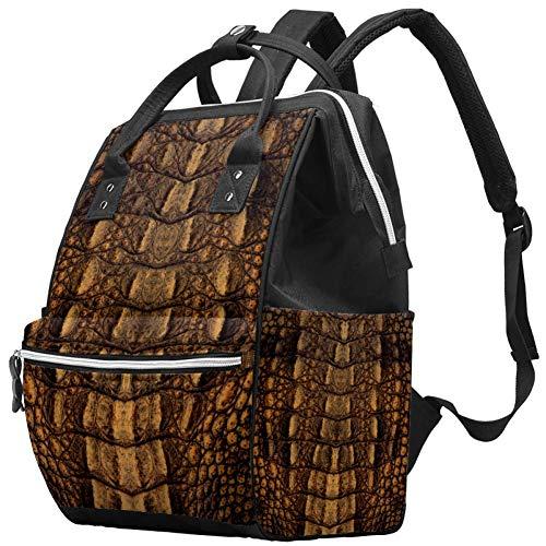 TIZOTAX Sac à dos à langer Texture peau de crocodile Grande capacité Sac de voyage pour mamans et papas