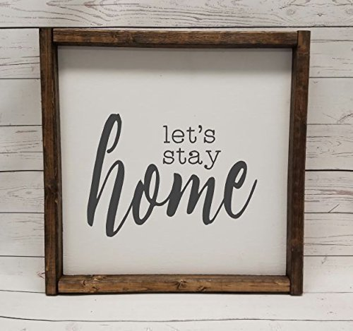 Let's stay Home sign, Farmhouse style, chunky framed sign. scrabble tile, handpainted sign