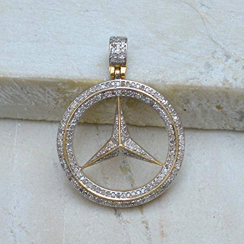 Pave Diamond Mercedes Benz Pendant Gold Vermeil Jewelry 925 Sterling Silver 16' Chain Necklace Jewelry