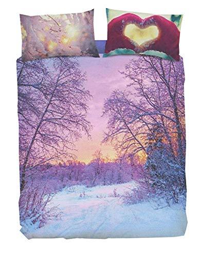 Bassetti - Juego completo de funda nórdica para cama con estampado digital de alta definición, fundas de almohada + saco + sábana bajera con esquinas (#Postcard, matrimonial de dos plazas)