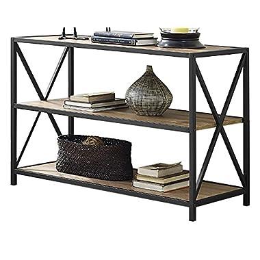 WE Furniture 40  x-Frame Metal & Wood Media Bookshelf - Barnwood, 40 ,