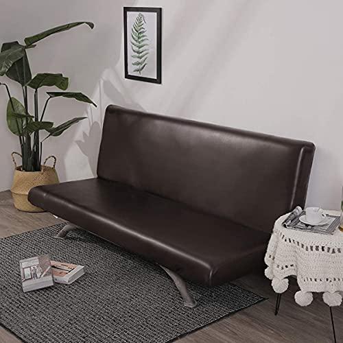Funda de sofá marrón sin brazos para silla, impermeable, superelástica, con parte inferior elástica, fundas de sofá de spandex, antideslizante, suave, no limpia, protector de muebles para niños
