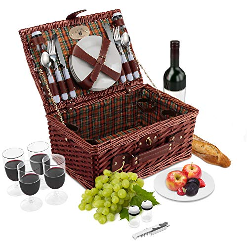 Wicker Picnic Basket Set | 4 Person Deluxe Vintage Style Woven Willow Picnic Hamper Kit | Ceramic...
