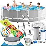 Intex 457 x 122 cm Prism Frame Swimming Pool Schwimmbecken 26726 Komplett-Set mit Pumpe, Unterlegeplane, Abdeckplane und Leiter sowie Extra-Zubehör wie: Luftmatratze und Strandball