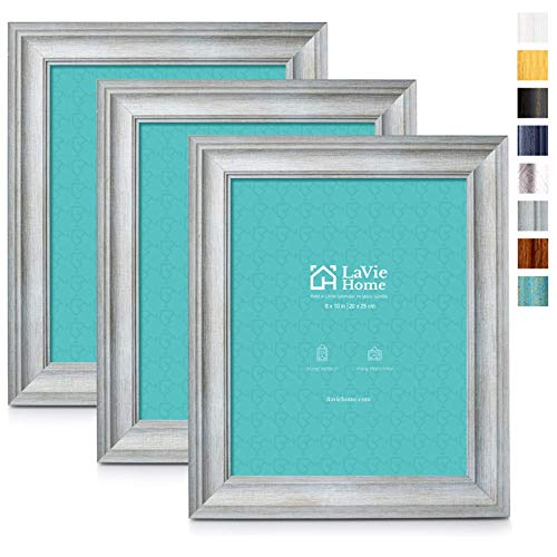 LaVie Home 8x10 Picture Frames (3 Pack, Light Gray Wood Grain) Rustic Photo Frame Set with High Definition Glass for Wall Mount & Table Top Display