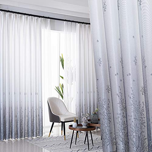 Bolo Linen Effect Eyelets Sheer Curtains Home Decorative Voile Curtains Embroidered Net Curtains for,3MX2.7M