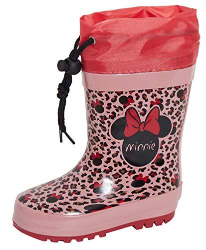 Girls Disney Minnie Mouse Fleece Lined Tie Top Wellington Boots 8.5 UK Child Pink