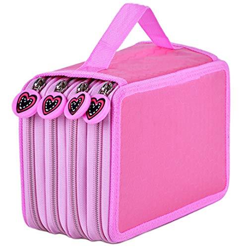 MESHIKAIER 72 Ranuras Grande Capacidad Lona Estuche de Lapices de Colores 4 Capas Portálapices Cremallera Bolso de Lapices Caja de Lapices Sólido y Durable (Pink)