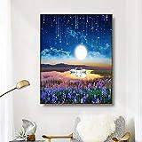 ganlanshu Arte Pintura Cisne sobre Lienzo póster Imagen Moderna Sala de Estar en casa decoración a la luz de la Luna,Pintura sin Marco,60x75cm