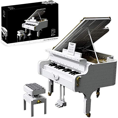 Building block creative MOC music series, piano blanco ensamblado modelo de instrumento musical juguete de bloques de construcción, 2750 partículas, juguete educativo para niños mayores de 6 años