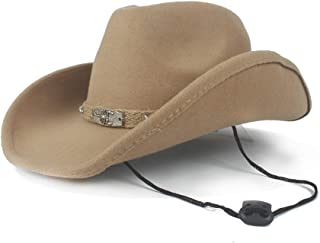 SAIPULIN-AU with Fashion Band Pop Fedora Hat Wide Brim Hat Women Men Wool Western Cowboy Hat Size 56-58CM (Color : Khaki, Size : 56-58)