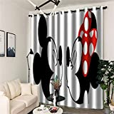 Baryy Cortinas Opacas | Mickey Mouse and Minnie Mouse 3D Impresión Digital, Aislantes Térmicas Super Suave Opaco Cortinas, 2X 167x228cm(WxH)