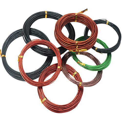 AWEELON 8Pcs Assorted Bonsai Training Wire Aluminum Wire for Bonsai Tree 3 Sizes - 1.0mm 1.5mm 2.0mm