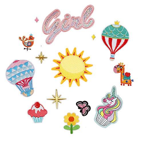14 pièces Soleil/Aninal/papillon/fleur Patch thermocollant ou coudre Applique pour enfants DIY Crafts Jeans Vêtements pour homme Sac à dos