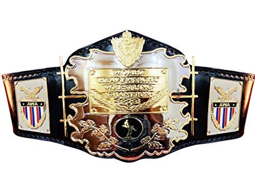 AWA World Schwergewicht-Gürtel für Wrestling-Titel-Meisterschaft, Erwachsenengröße, 4 mm, Zinkplatten mit 3 mm Lederriemen