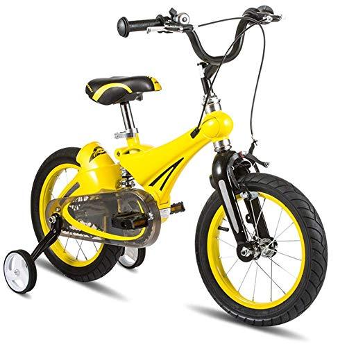 MYPNB Kinder Fahrräder, Fahrradkinder 14.12 / 16Inch mit Stützrad Jungen und Mädchen Radfahren geeignet for Kinder im Alter von 2-8 (Color : Yellow, Size : 12in)