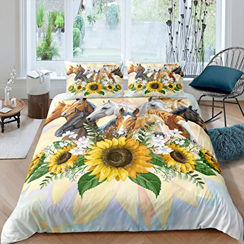 Erosebridal Horse Comforter Cover for Boys Girls, Sunflower Branches Bedding Set Queen Size, Cowgirl Cowboy Watercolor Duvet Cover for Children Teens Adult Bedroom Living Room, Cute Animal Quilt Cover