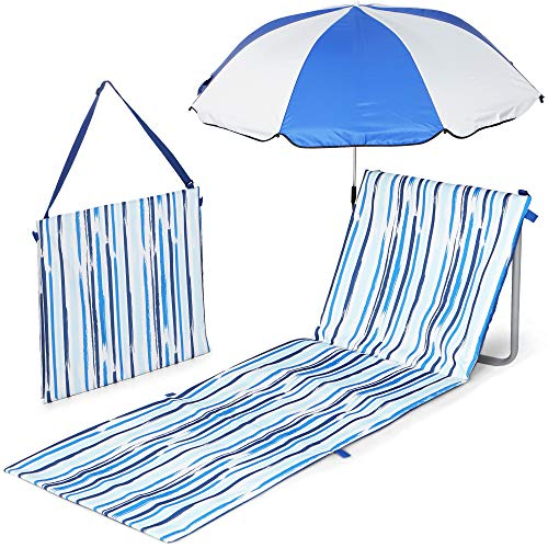 Scuddles Beach Picnic Mat- Sand Resistant Portable Blanket with Beach Umbrella- Lightweight and Comfortable with Shoulder Carrying Strap- Beach Chair with Umbrella