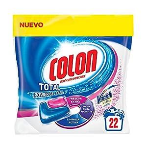 Colon Total Power Gel Caps Vanish – Detergente para lavadora con agentes quitamanchas, formato cápsulas – pack de 3, hasta 36 dosis