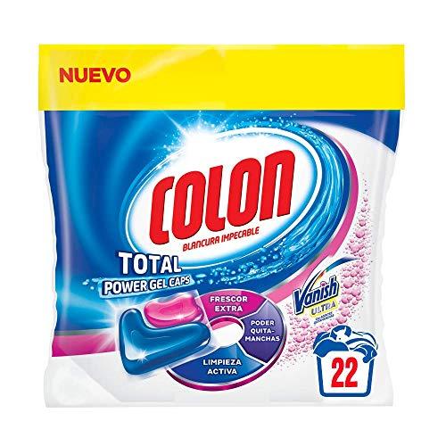 Colon Total Power Gel Caps Vanish – Detergente para lavadora con agentes quitamanchas, formato cápsulas – pack de 3…