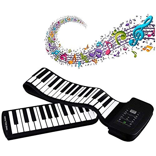 POWERFULM Tragbare Roll Up Piano, 88 Tasten Silikon Flexible Roll Up Piano Faltbare Tastatur Hand Rollen Klavier mit Batterie Sustain Pedal für Anfänger