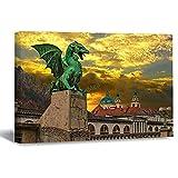 VinMea Wall Art Canvas The Dragon Bridge On The River Ljubljana In The Capital of Slovenia Ljubljana Strecthed Poster Picture Ready to Hang Modern Home Art Decor, 16 x 24 Inch