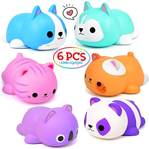 FLY2SKY 6PCS Jumbo Squishies Slow Rising Squishies Animal Newest Cat Squishy Toys Party Favors Goodies Bags Class Prize Scented & Kawaii Squishys Stress Relief Toys for Adults
