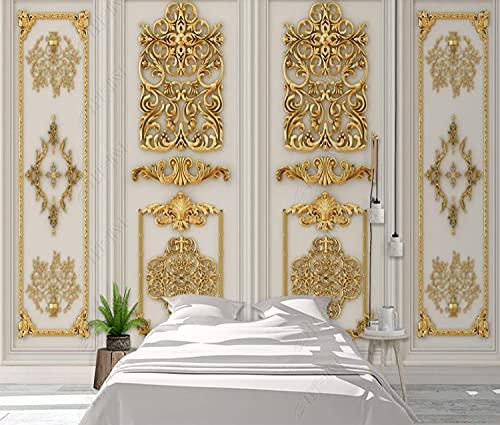 BHXIAOBAOZI Tapeten,Fototapete,Europäischer Luxus Golden Royal Embossed Carved Flower-Custom 3D-Fototapete Wandbild Für Wohnzimmer Kinderzimmer Zimmer Dekor,500 cm (B) × 300 cm (H)   16,4 × 9,84 Ft