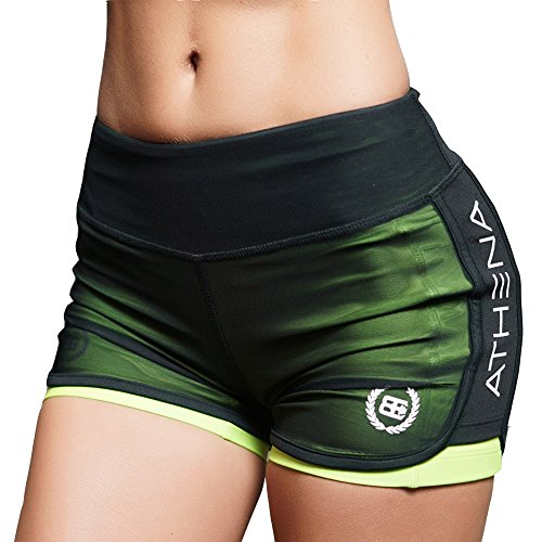 EVERWORTH Women's Casual Gym Compression Running Shorts Fitness Workout Training Yoga Short Pants Green S Tag L
