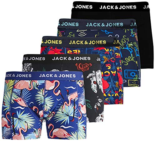 JACK & JONES - Calzoncillos Tipo bóxer para Hombre, 5 Unidades