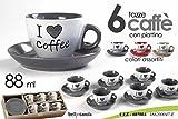 SET 6 TAZZE CAFFE' CON PIATTINO I LOVE COFFEE COLORI ASSORTITI 88 ML SERVIZIO CAFFE'...