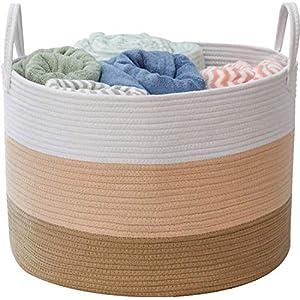 LNHOMY Extra Large Storage Basket-Woven Cotton Rope Basket Blanket Bins Thread Laundry Hamper Organizer for Baby NurseryDog Toy Storage