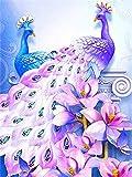 Diamond Painting WWJMV, Morado pavo real Taladro Completo Bordado de Diamantes Cristal Punto de Cruz Hecho a Mano Kit Completo para Dia del padre Regalo 30x40cm