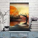 wZUN Bild Leinwand Malerei Poster Tote Bäume im Nebel und