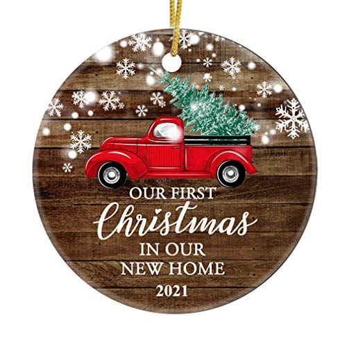 JUPPE Our First Christmas in Our New Home 2021 Decoration Mr & Mrs Newlywed Ornament Romantic Couples Gift (Red Car-1)