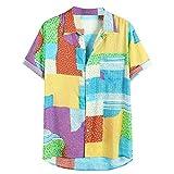 CAOQAO Ropa de Hombre Camisa Hawaiana Verano Manga Corta Ajuste Suelto Transpirable Blusa Estampada Funky 12 Colores