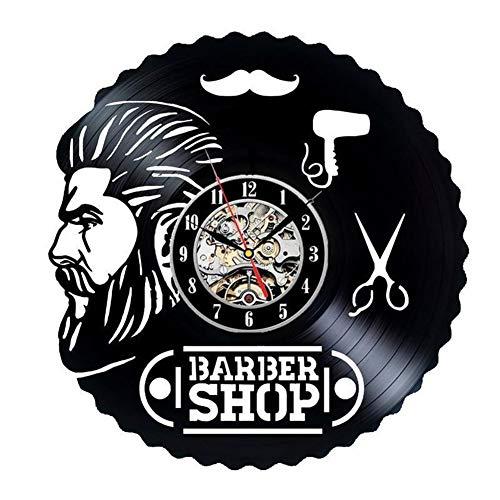 Professional Barber Shop vinyl horloge murale-grande idée pour coiffeur, coiffeur, coiffeur, barbiers,Black,12inches