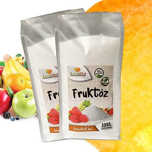 Fructose Zucker (2x1000g) | Fruchtzucker | Natürlicher Zuckerersatz | Zuckerfreie Süssigkeiten | Natural Gelierzucker für Marmelade oder Gelee l Zum Süßen Backwaren l Perfekt für tee und Coffee