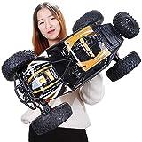 Kikioo Camión RC, 1/10 Big Foot Radio Control Rock Crawlers 4x4 RTR Driving Car Motores dobles Suspensión independiente eléctrica Offroad 8.4km / H 2.4Ghz 4WD Truggy - El mejor regalo for niños mayore