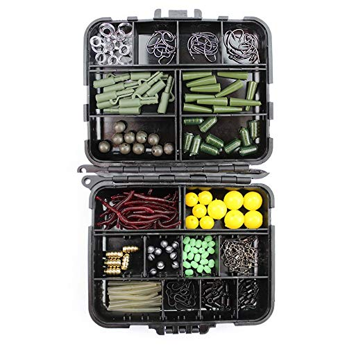HAIYOUSHANGMAO 189pcs / Lot Karpfenangeln Kit Tackle Box Blei Clips/Perlen/Hooks/Rohre/Wirbels Baiting Terminal-Rigs Carp Fishing Tackle Box Angeln (Color : 189 Pieces)