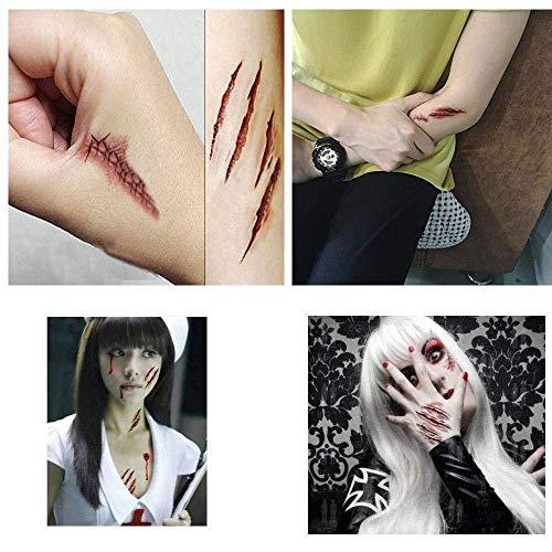 Depory Tatuajes Temporales (10 Hojas) Halloween Zombie Cicatrices Tatuajes Pegatinas con Falso Scab Sangre Especial Fx Costume Maquillaje Props