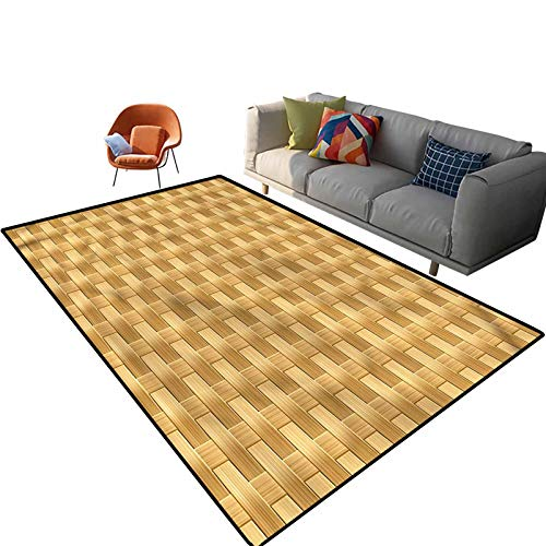 Indoor Room Bamboo Area Rugs,6'x 9',Abstract Style Handcraft Floor Rectangle Rug with Non Slip Backing for Entryway Living Room Bedroom Kids Nursery Sofa Home Decor