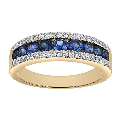 Olivia Paris 14K Yellow Gold Blue Sapphire & Diamond Band