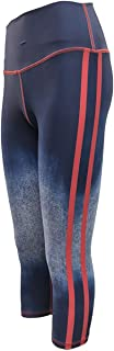 David Cline Athleisure: Womens Active Sport Yoga Exercise Workout Crop Legging, Blue Denim w/Red Stripes