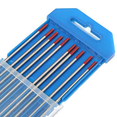 ZOYOSI 10 varillas de soldadura de electrodos TIG de 3/32 pulgadas x 7 pulgadas (2,4 x 175 mm), color rojo WT20 2% de tungsteno torado