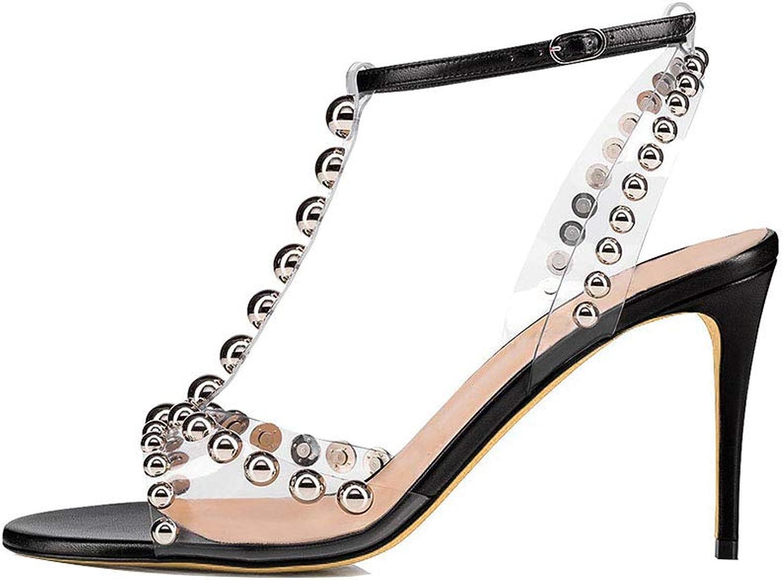 Women's PVC High Heel Sandals Metal Rivet T Type Ankle Strap Buckle High Heel Sandals Everyday Wear Sandals (Heel Height  12 cm)