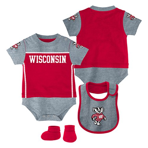 Genuine Stuff Wisconsin Badgers Baby/Infant Lil Jersey Creeper, Bib, Bootie Set 12 Months
